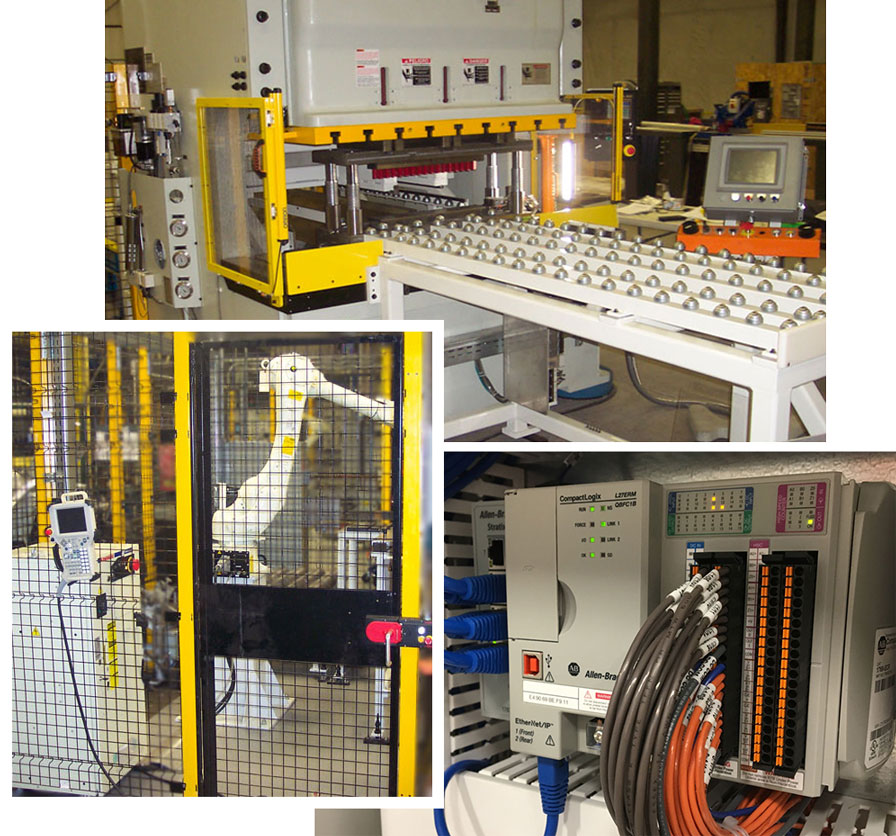 Collage of an automated punch press process controls, an integrated Kawasaki Robot used for material handling and machine tendering, and PLC Controls, programmable controller, PAC